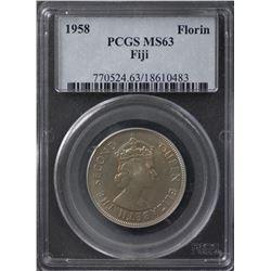 Fiji Florin 1958 MS63 Scarce Date