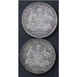 1915 & 1915H Shillings Fine plus