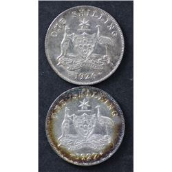 1926 & 1927 Shillings EF and Nearly Unc
