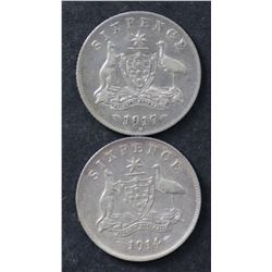 1914 & 1917 Sixpences Extremely Fine