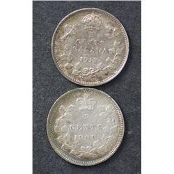 Canada 5c 1913 & 1894 EF