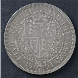 GB ½ Crown 1893 Nearly Uncirculated