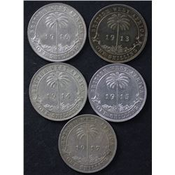British West Africa shillings, 1913, 1914, 1915,1916,1917Mostly EF to aUnc