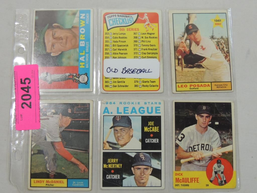 Lot 6 Misc Old Topps Baseball Cards