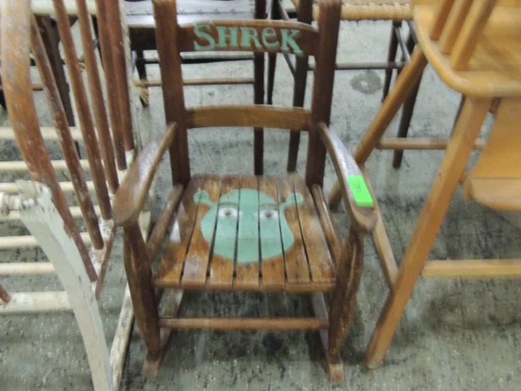 Childrens Hand Painted Shrek Rocking Chair