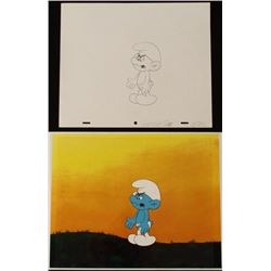 Cel Orig Drawing Smurfs Animation Background Unhappy
