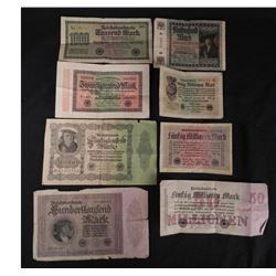 8 Pcs of German Inflationary Paper Money