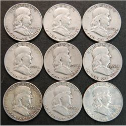 9 Different Date Franklin Silver Dollars 1950-1963