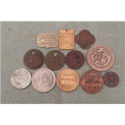 Lot 12 Medals, Wooden Nickels, Chi Railroad Fare, MORE