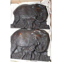 FLAT W/ 2 ELEPHANT WALL HANGING PLAQUES