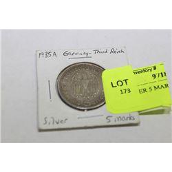 1935 SILVER 5 MARKS HINDENBURG COIN