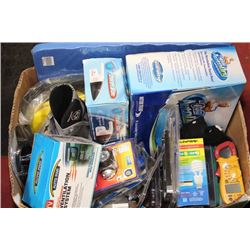 BOX OF ASSORTED TOOLS INCLUDES HAND WET DRY VACUUM