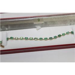#9 10 KT GOLD EMERALD 8.05CT BRACELET