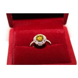 #4 14 KT GOLD YELLOW DIAMOND 1.25CT AND WHITE