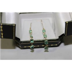 #43  14KT Y/GOLD  EMERALD 3CT EARRINGS