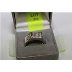 MENS CUBIC ZIRCONIUM AND 925 SILVER RING
