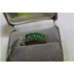 10K GOLD AND GENUINE EMERALD RING, REP VALUE $1750
