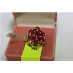 GOLD PLATED SILVER WITH POLISHED RUBIES RING