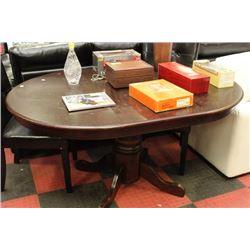 PEDESTAL BASE WOOD KITCHEN TABLE W LEAF W 2