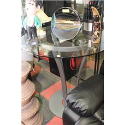 ROUND METAL AND GLASS BAR TABLE