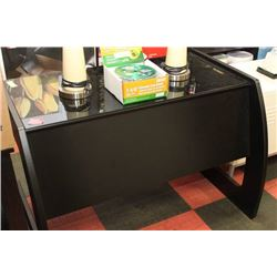 BLACK WOOD GLASS TOP DESK