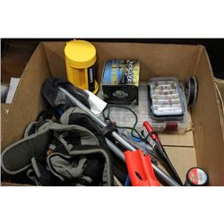 BOX OF NEW FISHING GEAR INCL. INTRUDER FLY WHEEL,