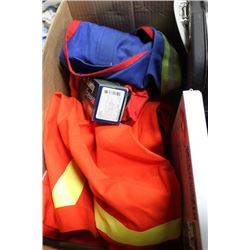 "BOX WITH NEW ""AGO"" HIGH VIS COAT(XXL), VEST (XL),"