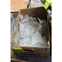 BOX OF RUSSIA CUT GLASS, CARNIVAL GLASS