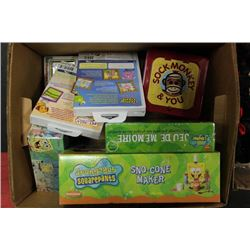 BOX W/ NEW SPONGEBOB ITEMS, LEAPSTER