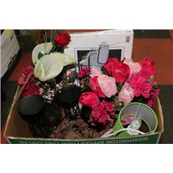 BOX WITH NEW SERVING TRAYS, SILK FLOWERS, 3-PCE