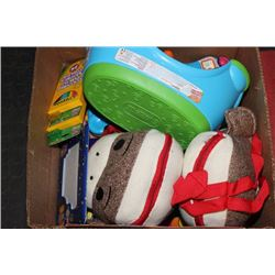 BOX WITH 2 MONKEY BACKPACKS, STEPPING STOOL, 2 NEW