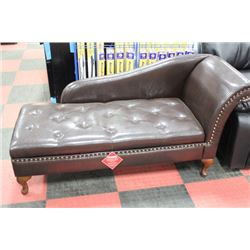 NEW BROWN LEATHERETTE STORAGE CHAISE LOUNGE CHAIR