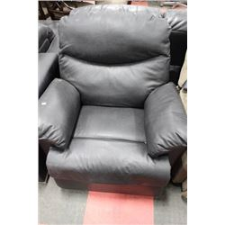 BLACK LEATHERETTE RECLINING SOFA CHAIR