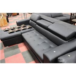 BLACK LEATHERETTE HIDE-A-BED SECTIONAL AS IS