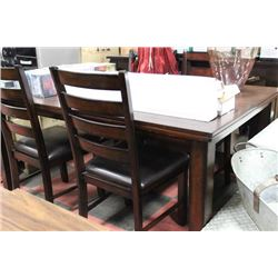 SOLID DARK WOOD KITCHEN TABLE W/ 4 WOOD AND