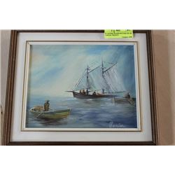 """H. CARTER FRAMED PICTURE OIL ON CANVAS """"PEGGY'S"""