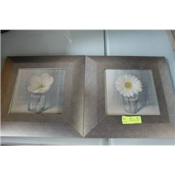 PAIR OF SILVER FRAMED FLOWER PICTURES
