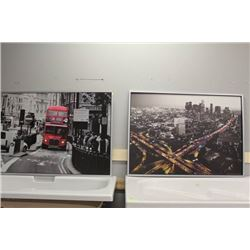 "CITY SCAPE PICTURES X2      55""x39.5"" EACH"