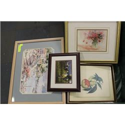 4 FRAMED ASSORTED DECORATIVE PICTURES