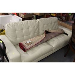 DAMAGED WHITE LEATHERETTE SOFA
