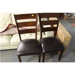 PAIR OF WOOD AND BLACK LEATHERETTE SIDECHAIRS