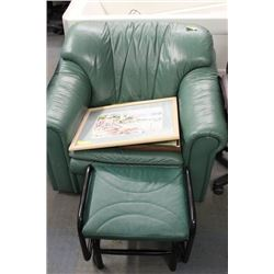 GREEN LEATHER CHAIR WITH ROCKING OTTOMAN