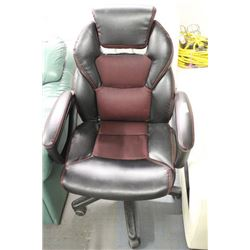 BLACK AND RED LEATHERETTE OFFICE CHAIR