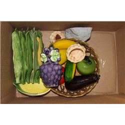 BOX OF CERAMIC VEGETABLES/DISHES