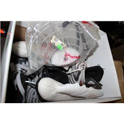 BOX OF MISC. ICE SKATES AND COOPER FACE GUARD