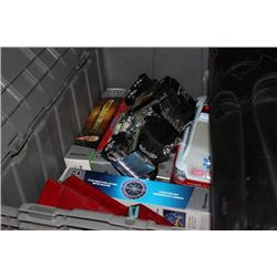 GREY CONTAINER WITH TOY TRUCKS, DVD GAMES, XBOX