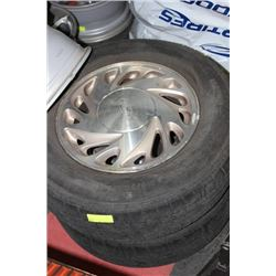 PAIR OF FORD ALUMINUM  RIMS WITH USED TIRES