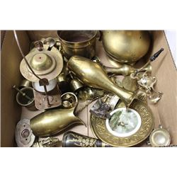 BOX WITH OVER 35 PIECES OF BRASS ORNAMENTS