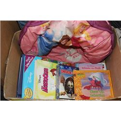 BOX WITH WALT DISNEY ITEMS: FOLD OUT CHAIR, THREE