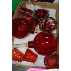 FLAT OF RED GLASS ITEMS